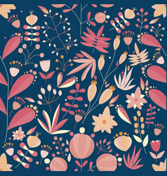 Floral seamless pattern with flowers and plants in vector