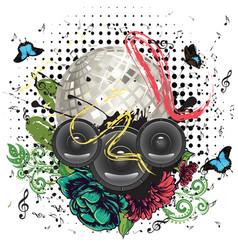 Grunge silver disco ball vector