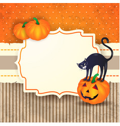 halloween background with label pumpkins and cat vector image vector image