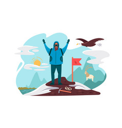 happy mountaineer on top mountain vector image vector image
