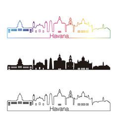 Havana v2 skyline linear style with rainbow vector