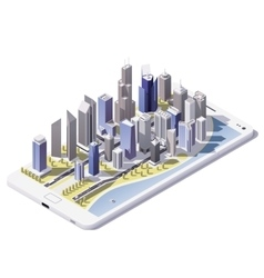 isometric city on the smartphone screen vector image
