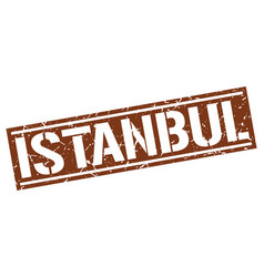 Istanbul brown square stamp vector