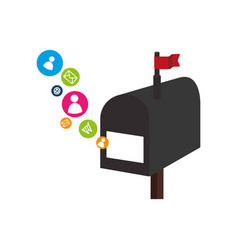 Mailbox with social media icons vector