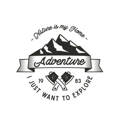 Mountain expedition adventure label with axe vector