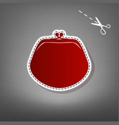 purse sign red icon with for vector image vector image