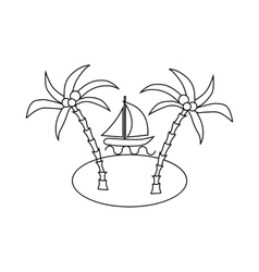 Sail boat and sea island with palm trees icon vector image vector image