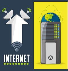 satellite and router related with internet vector image