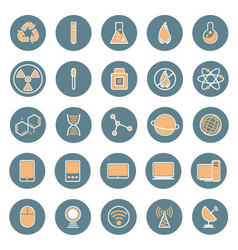 Science and technology icon set vector