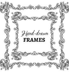 set of hand-drawn vintage frames vector image