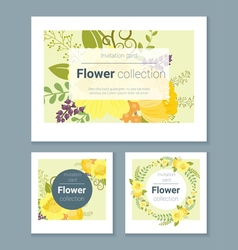 Set of invitation cards with colorful flowers 5 vector image