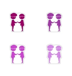 Set of paper stickers on white background business vector