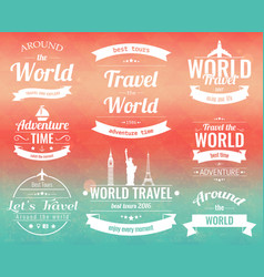 set of vintage travel badges and labels holiday vector image vector image