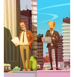 Two businessmen at big city background vector