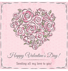 valentine card with heart of flowers and wishes te vector image vector image