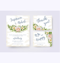 Wedding invitation invite flower invite thank you vector