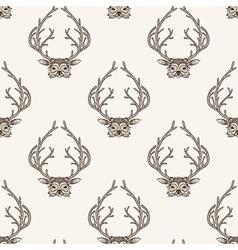 Zentangle stylized deer seamless pattern Hand vector image