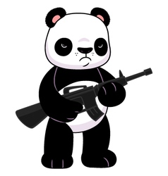 Panda with a rifle vector