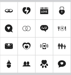 set of 16 editable passion icons includes symbols vector image