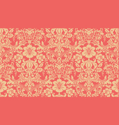 seamless damask pattern red and yellow image vector image