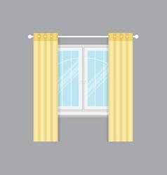 Modern drapery window isolated object vector
