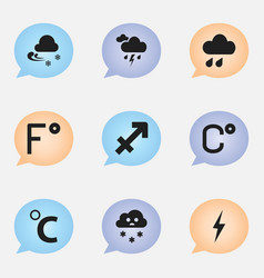 Set of 9 editable climate icons includes symbols vector