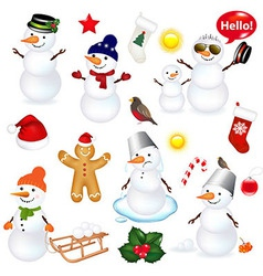 Collection Of Snowmen And Christmas Icons vector image