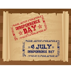 Stamp of independence day on papyrus roll vector