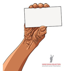 Hand showing business card african ethnicity vector