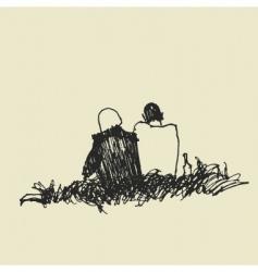 couple sketch vector image