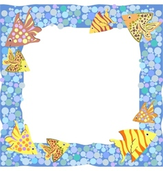 Frame with colorful cartoon fishes vector