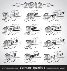 Vintage calendar month titles vector