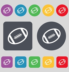 American football icon sign a set of 12 colored vector