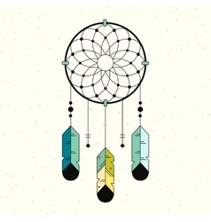 Linear logo dreamcatcher vector