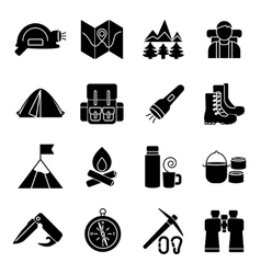 Mountain climbing icon set vector