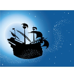 Sailing vessel in night sky vector