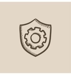 Shield with gear sketch icon vector
