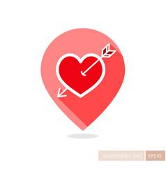 Arrow heart icon love pin map icon vector