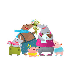 bear family father mother kids and newborn baby vector image