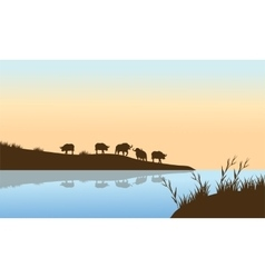 Bison Sunrise on the river vector image