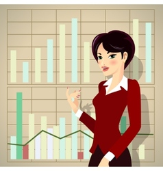 Business woman cartoon presenting proposal vector