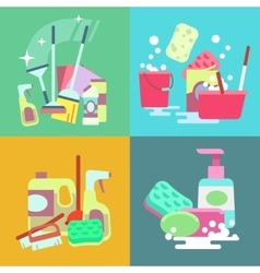 Cleaning service concept background set vector