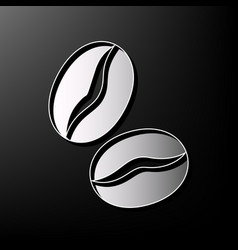 Coffee beans sign gray 3d printed icon on vector