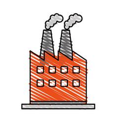 Color crayon stripe cartoon building industrial vector