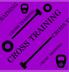 Cross training seamless pattern with kettlebell vector