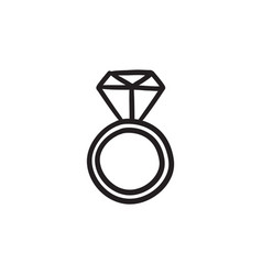 Engagement ring with diamond sketch icon vector