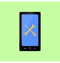 Flat style smart phone with tool icon vector