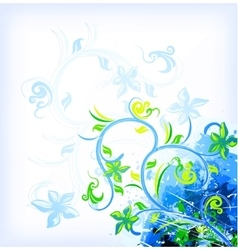Floral blue on grunge background vector