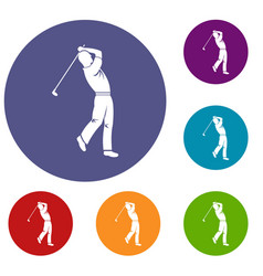 Golf player icons set vector