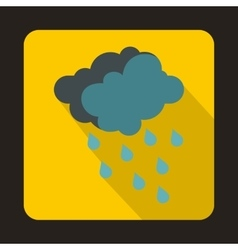 Gray clouds and water drops icon flat style vector image